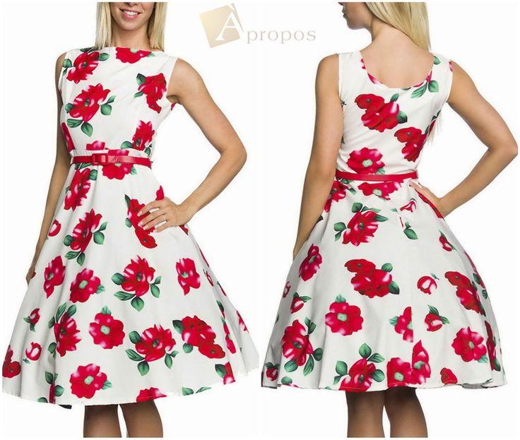 Sommerkleid Knielang 50er Gürtel Vintage Ausgestellt Geblümt Weiß Rot Apropos