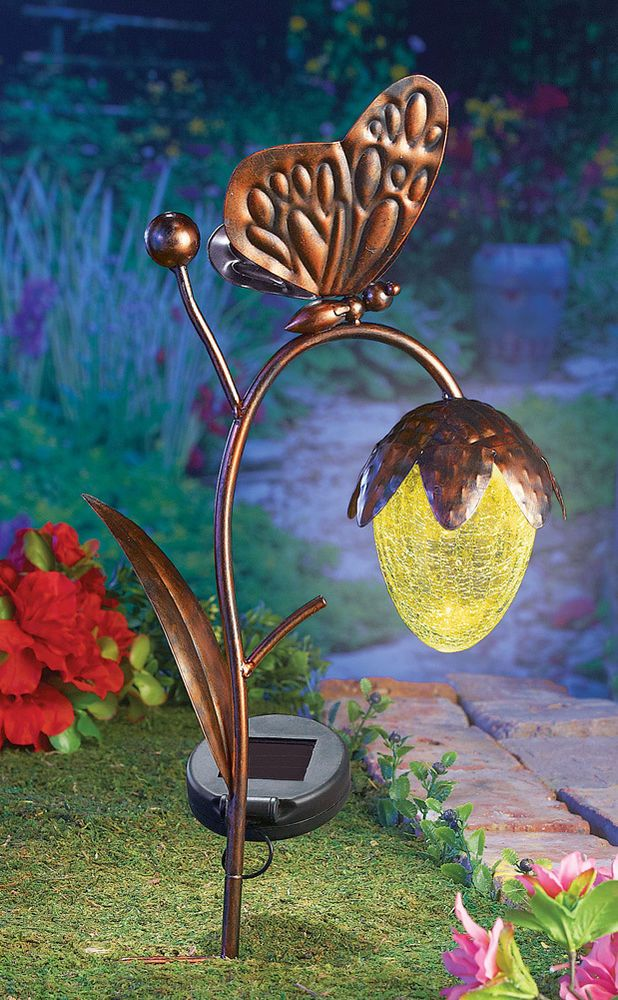 SOLAR GARDEN DECORATION BUTTERFLY STAKE OUTDOOR WALKWAY PATH LIGHTING HOME  DECOR