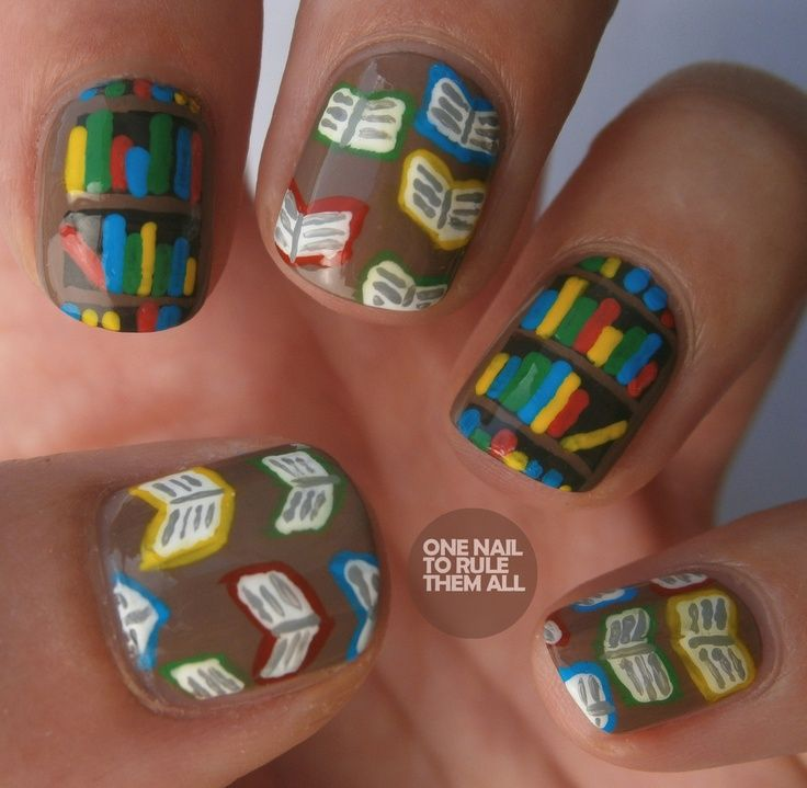 Books and bookshelves mani! How cute for a teacher or librarian!