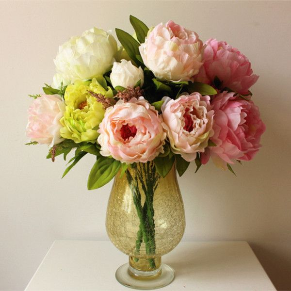 1 PCS 7 Flower Heads Beautiful Artificial Peony Bouquets Silk Flowers Home Decoration 4 Colors