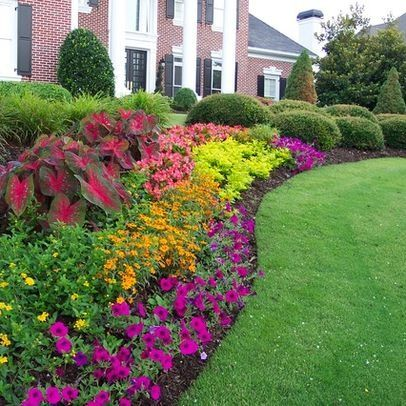 flower bed landscaping ideas - purples and yellows. If you know what these flowers are, please tell us. I think the purple ones in the front are petunias. Sometimes just having a color palette is a good place to start, and you can add your own flowers tha