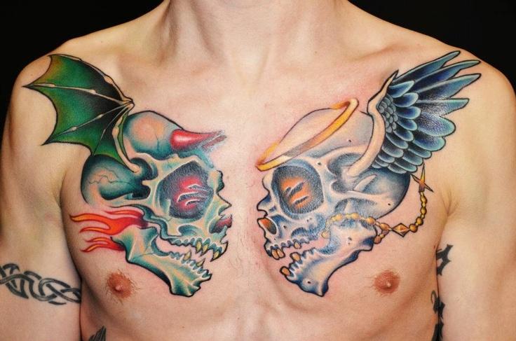 Good vs Evil Skull Tattoo | Tattoos | Pinterest | Evil ...