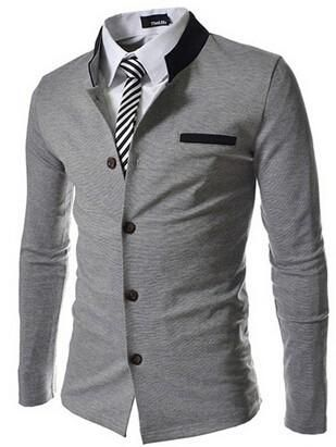Fashionable Men Fashion Collarless  Slim Fit Button Blazer Suits (without Shirt and Tie)