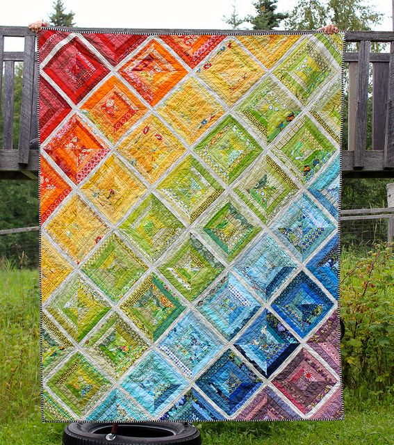 Rainbow Scrappy String Quilt | http://coraquilts.blogspot.ca/2013/08/rainbow-scrappy-string-quilt-is-done.html