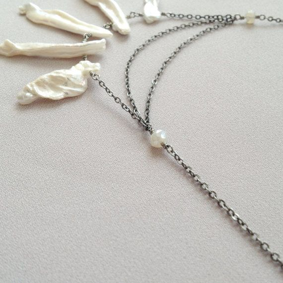 Biwa pearl statement necklace by LYNGjewelry on Etsy