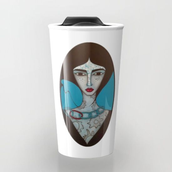 "CERAMIC TRAVEL MUG! Double-walled with a press-in suction lid, the two-piece (12oz) design ensures long lasting temperatures while minimizing the risk of spillage from kitchen to car to office. Standing at just over 6"" tall with wrap around artwork, safely sip hot or cold beverages from this one of a kind mug.  ORIGINAL ART BY SANDRA MUCCIARDI www.sandramucciardi.com"