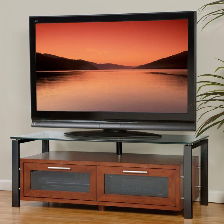 Plateau Decor 50 Inch TV Stand in Walnut with Black Frame - DECOR 50 (W)-B