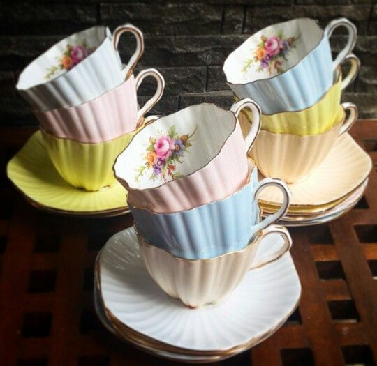 Candy pastel colours teacups
