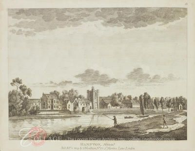 View of Hampton in Middlesex; Hampton is now in the London borough of Richmond upon Thames. 1809.  Fisherman in foreground
