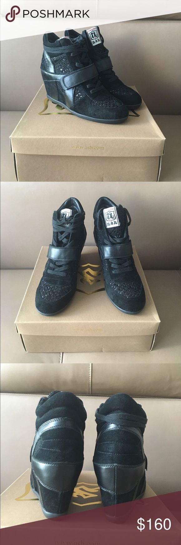 Ash $235 Black Suede Bowie Wedge Sneakers 8.5-9 ! New , authentic Ash Bowie Wedge Sneakers in size 39 . Fits 8.5-9 US . Style comes in whole sizes only . Sorry , no trading -:( . Thanks ! Ash Shoes Wedges
