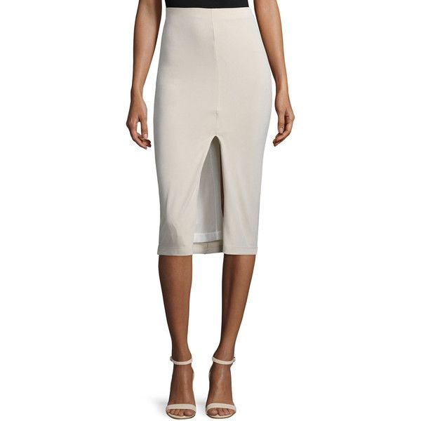 Alice + Olivia Spiga Ponte Front-Slit Pencil Skirt ($210) ❤ liked on Polyvore featuring skirts, tan, high slit skirt, high-waist skirt, high-waisted skirts, ponte pencil skirt and tan pencil skirt