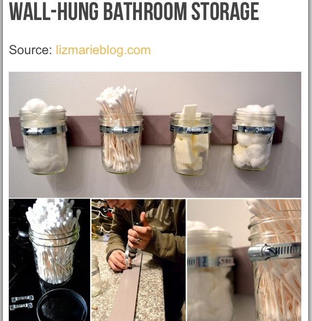 Mason jar bathroom organizer bathroom ideas pinterest for Bathroom jar ideas