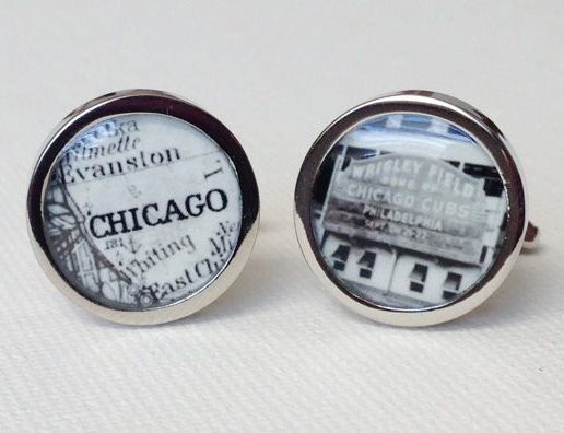 Vintage wrigley field Chicago cufflinks by PhotoJule on Etsy