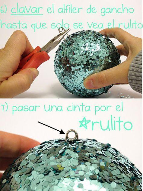 Cheap, easy DIY Christmas balls @Rachel Burruss Check out this safetypin idea!!