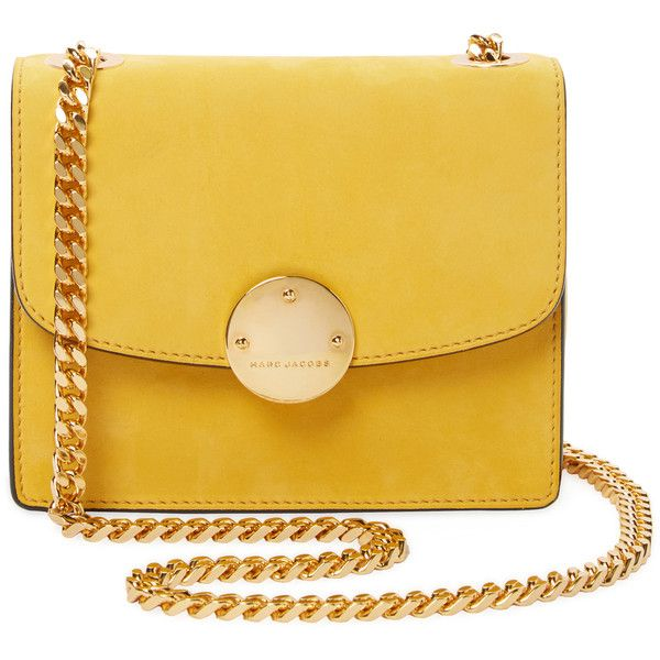 Marc Jacobs Collection Trouble Mini Suede Crossbody - Yellow (2.605 RON) ❤ liked on Polyvore featuring bags, handbags, shoulder bags, yellow, suede shoulder bag, crossbody handbag, chain shoulder bag, chain-strap handbags and mini crossbody purse
