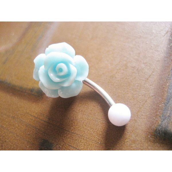 Mint Green Turquoise Rose Belly Button Ring- Pastel Minty Light... ($15) ❤ liked on Polyvore