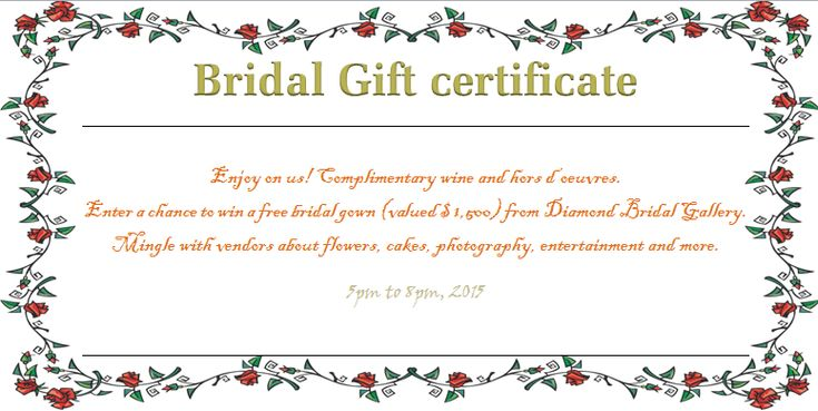 Wreath of Roses Bridal Gift Certificate Template – Wedding Gift Certificate Template