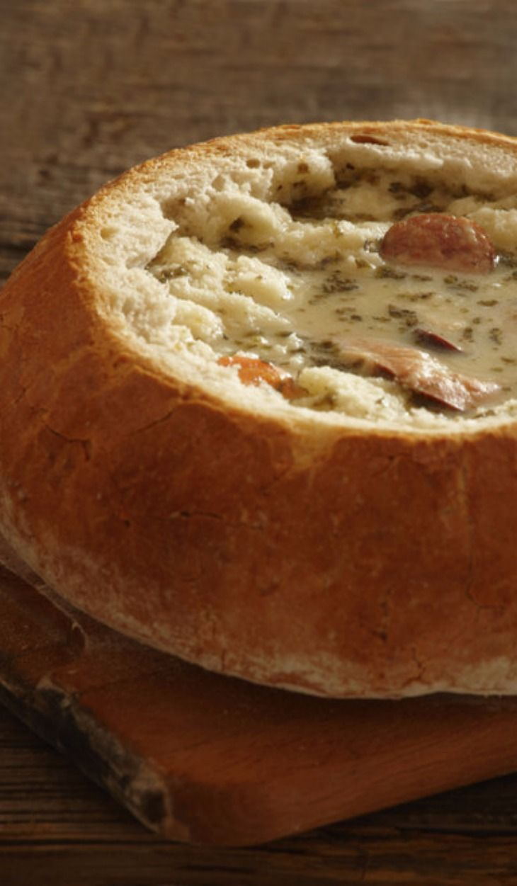 Polish Zurek soup served in a bread bowl in Poland, Via Monika Wisniewska / Getty Images: