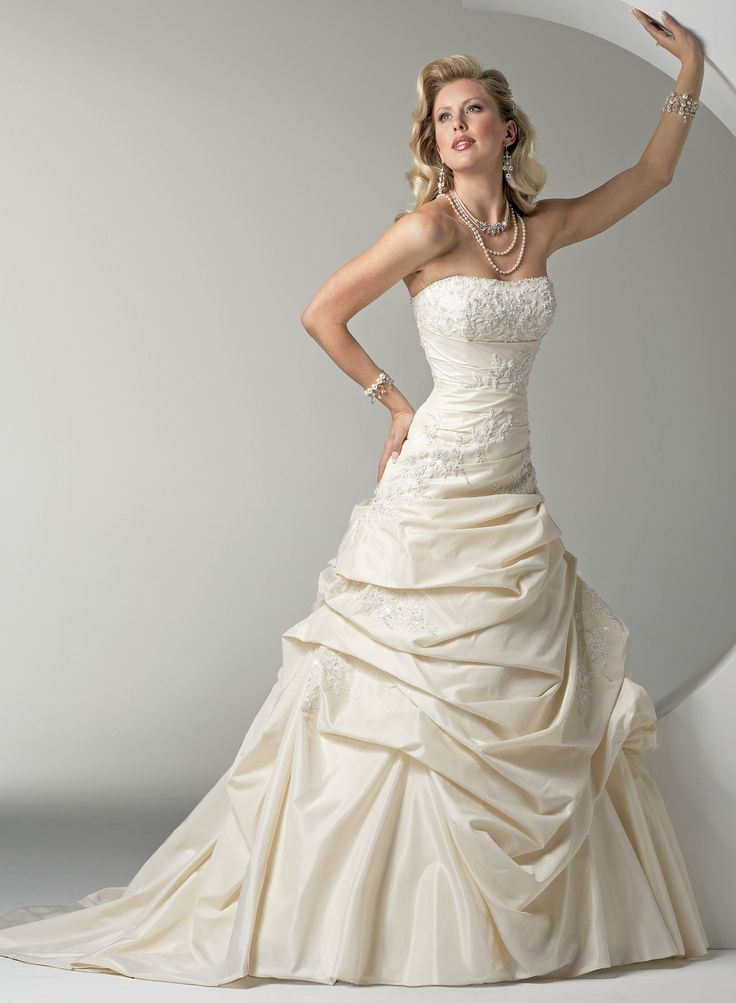 Beaded Lace And Bustled Sonata Taffeta A Line Strapless Neckline Wedding  Dress