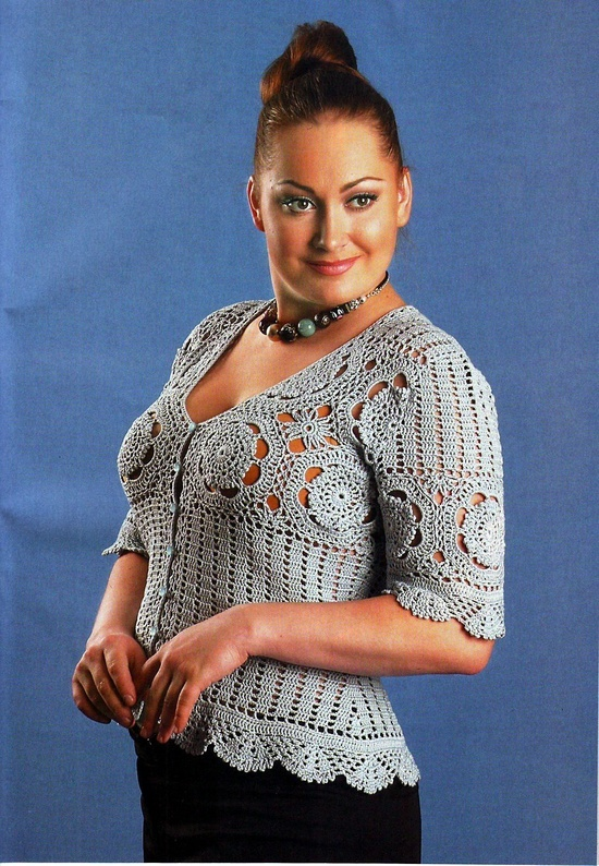 plus size crochet top - with diagrams, lay out and google translatable instructions!.