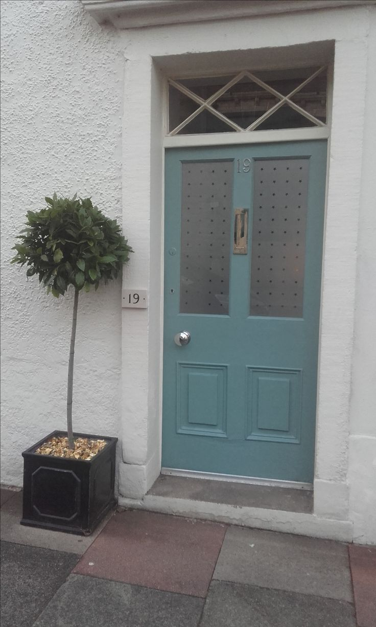 Lovely new coat of paint for front door - Farrow and Ball Oval Room Blue