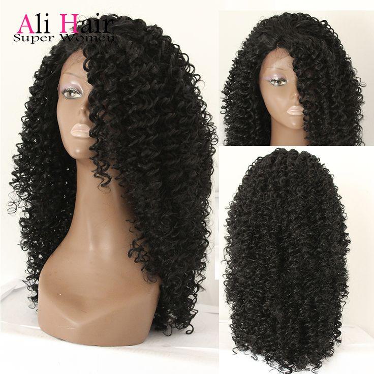 2015 alta calidad resistente al calor peluca de pelo Afro rizado rizado peluca sintética peluca del frente del cordón para Afro afroamericanos y negro mujeres