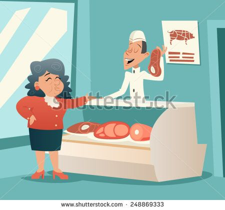 Granny Old Woman in Meat Shop Talks with Seller Retro Vintage Cartoon Character Icon on Stylish Background Design Vector Illustration
