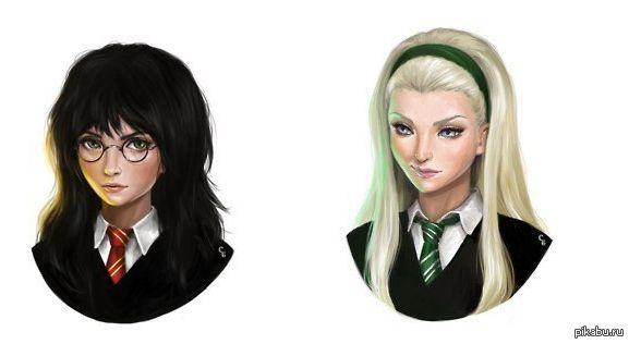 Если бы Гарри Поттер и Драко Малфой были бы девушками  Картинки и фото