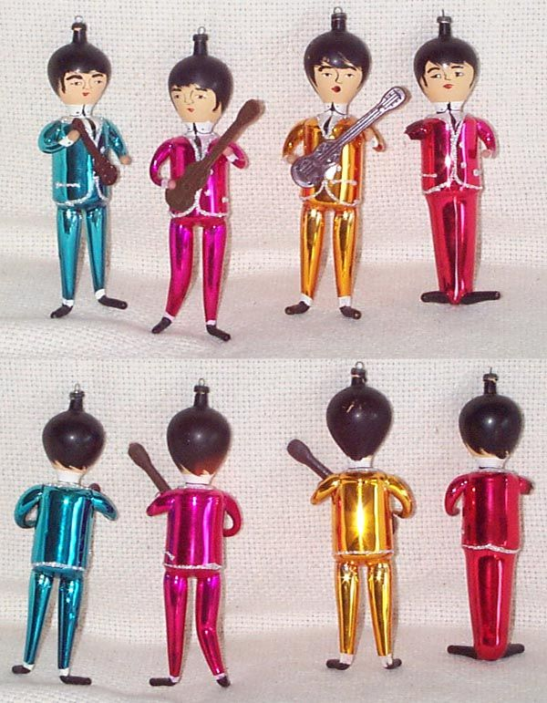 these impressive vintage glass christmas tree ornaments of the beatles  (circa 1964) were made in Italy and are hand blown. - These Impressive Vintage Glass Christmas Tree Ornaments Of The