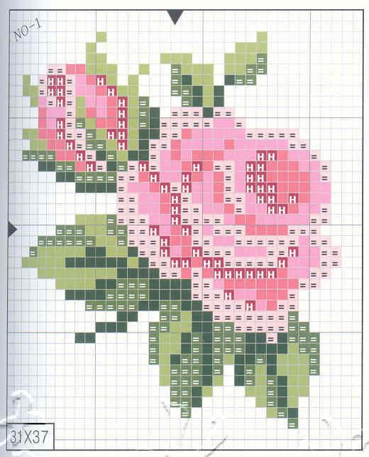 Cross stitch rose, punto de cruz rosa