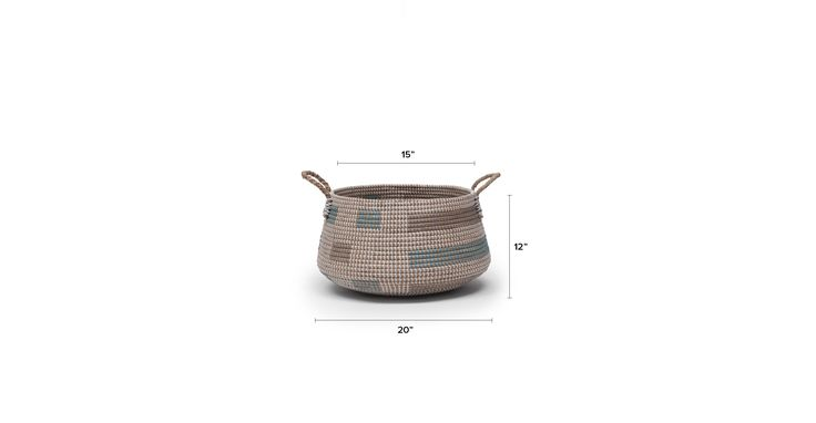 Helix Turquoise Gray Rectangles Short Basket - Baskets - Article | Modern, Mid-Century and Scandinavian Furniture