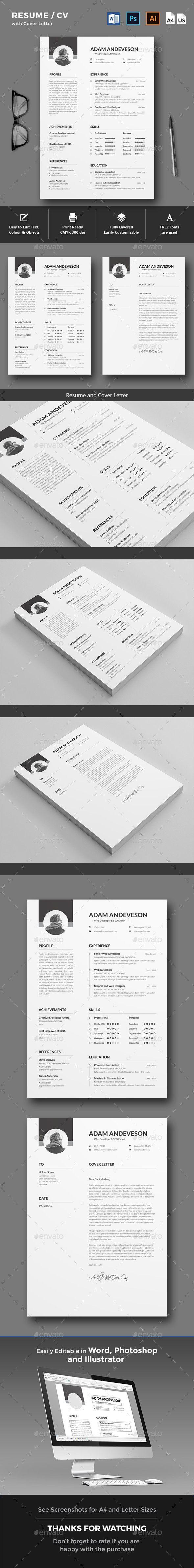 Resume / CV Template PSD, AI, DOCX & DOC