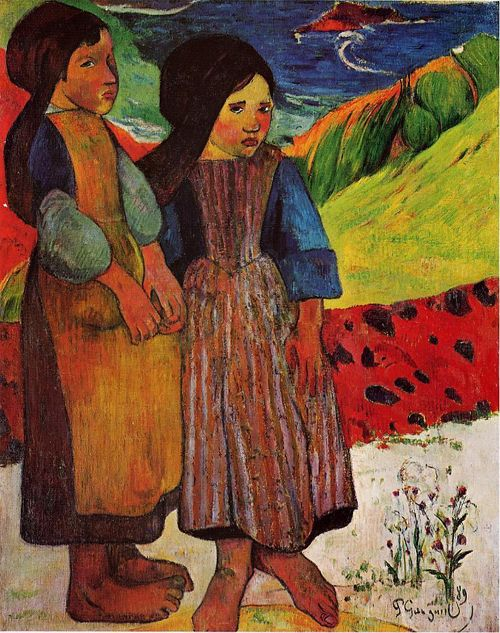 Breton Girls by the Sea, 1889, Paul Gauguin. ** orange, yellow, brown, green, red, cream, blue - toned down mood with anxious looking girls.. Why are their feet so big ??