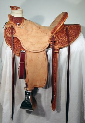 Vaquera (Cowgirl) Wade Sheridan Style Floral Tooled Half-breed by Keith Valley of Cowboy Saddlery. - #HorseTack