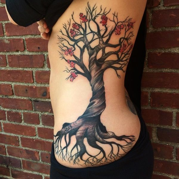 80 Tree Tattoo Designs And Their Beauty Tattoo Fonts Family Tree Tattoo Rib Tattoo Cherry Tree Tattoos