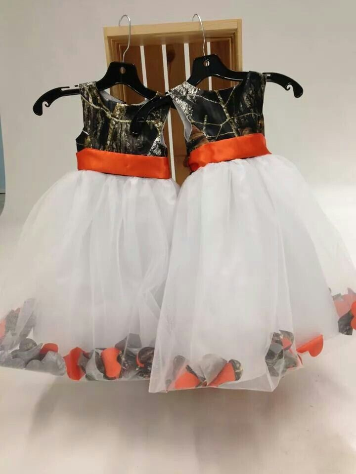 Flower girl dresses, orange and camo!