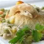 Chicken and biscuit casserole: Tried this last night and it was delicious. I halved the butter. It was a little time consuming but hearty and I could control the salt content. Great meal.