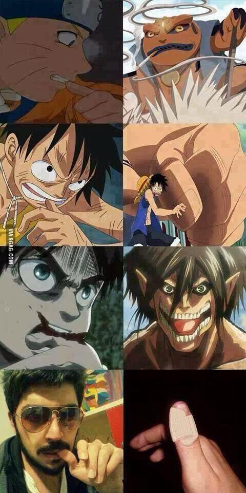 Naruto, One Piec and Attack on Titan and real life rofl