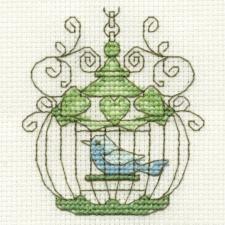 DMC Mini Vintage Cross Stitch Kit - Birdcage