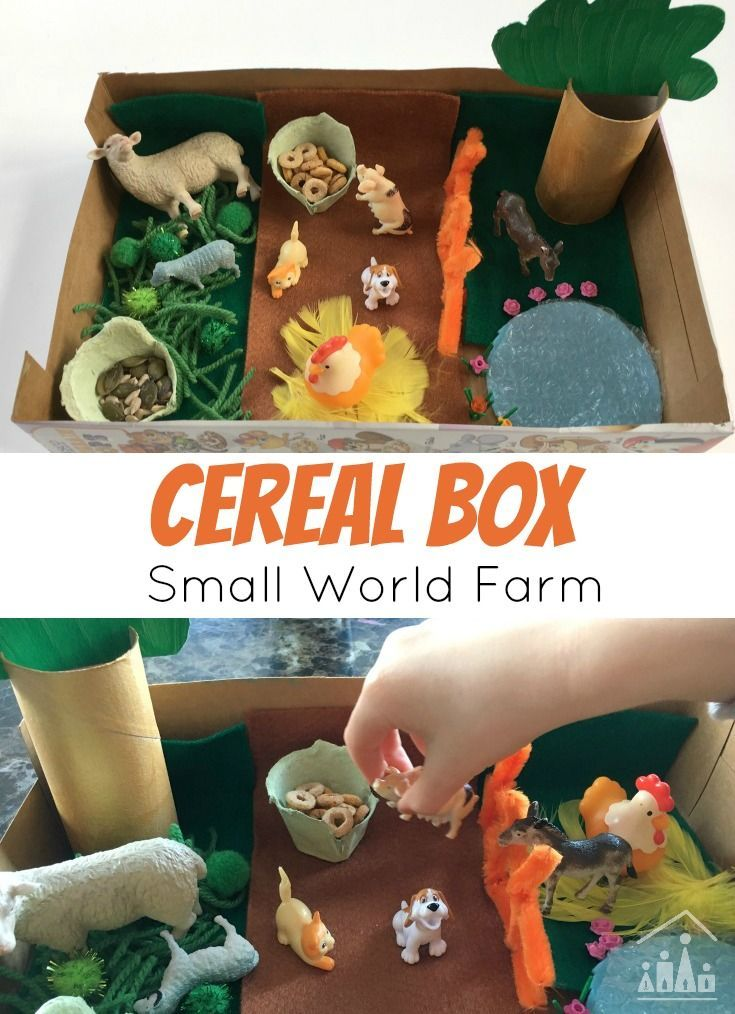 Once your kids have fueled up for the day with cereal, use the empty cereal box to fuel their imaginations. Turn it into a Small Farm World with just a few bits and bobs you probably already have to hand. A great imaginative play activity for kids of all ages to enjoy.