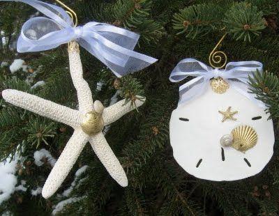 Ideas for homemade christmas ornaments coastal style for Seashell ornaments diy