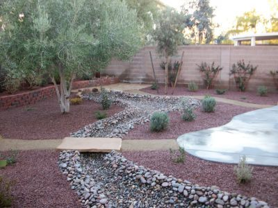 VIP Landscaping, dry creek bed, walkway, bridge G -Landscape