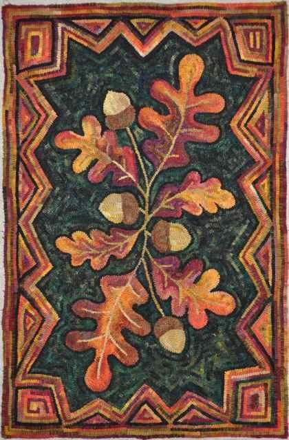 """William Pickering Oak"" designed and hand hooked by Gene Shepherd using wool from a ""Pancake Dye"" process."