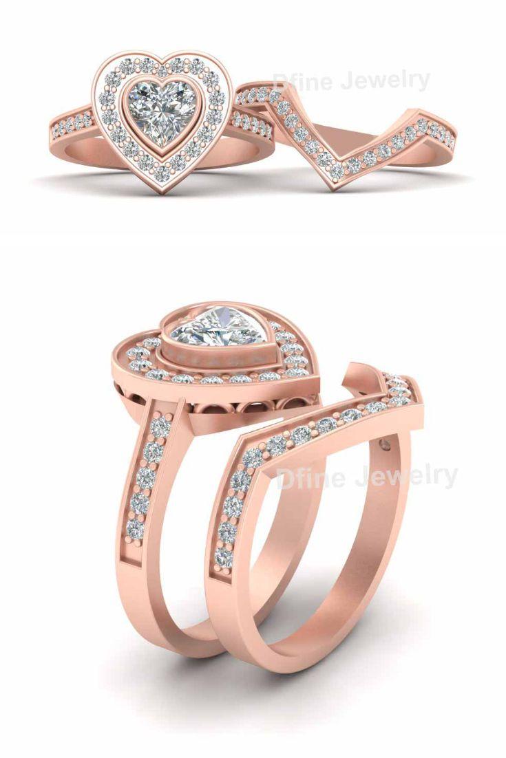 Solid 18k Rose Gold Heart Wedding Ring Set Heart Wedding Rings