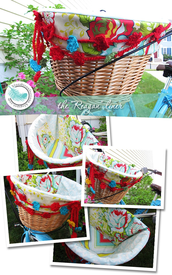 "The ""Reagan"" Beach Cruiser Basket Liner with coordinating, hand crocheted flower garland."