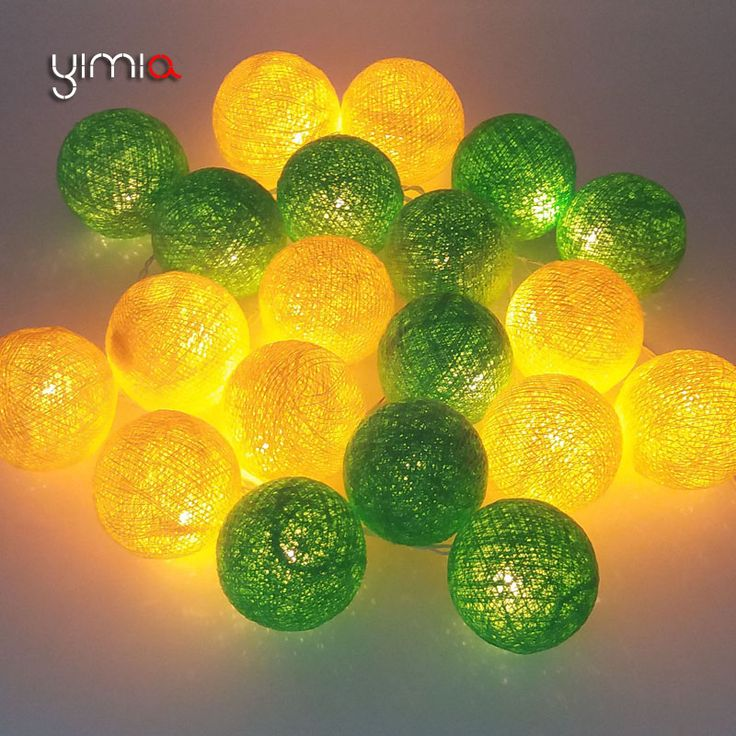 YIMIA Yellow/Green 35 Cotton Balls 20 Christmas Lights Outdoor LED Fairy Holiday Lights Garland Baby Night Lights For Children