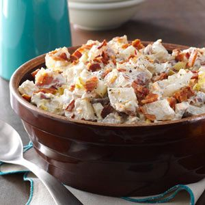Loaded Baked Potato Salad Recipe -I revamped my mother's potato salad recipe to taste more like baked potatoes with all the fixin's, which I love. It's now the most requested dish at family gatherings. Even my mother asked for the recipe! —Jackie Deckard, Solsberry, Indiana
