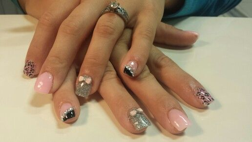 Silver black and pink with leopard, bows, and bling