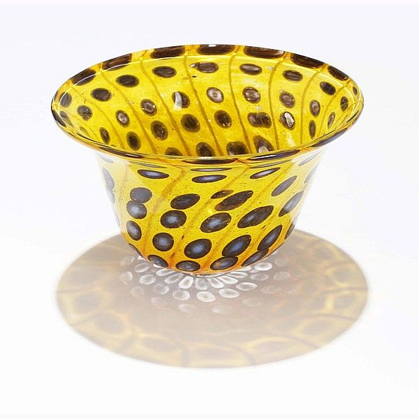 Kosta Glasskolan Scandinavian art glass bowl