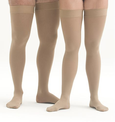 Mediven Plus 20-30 mmHg Closed Toe Thigh High Unisex Stockings w/ Beaded Silicone Top Band